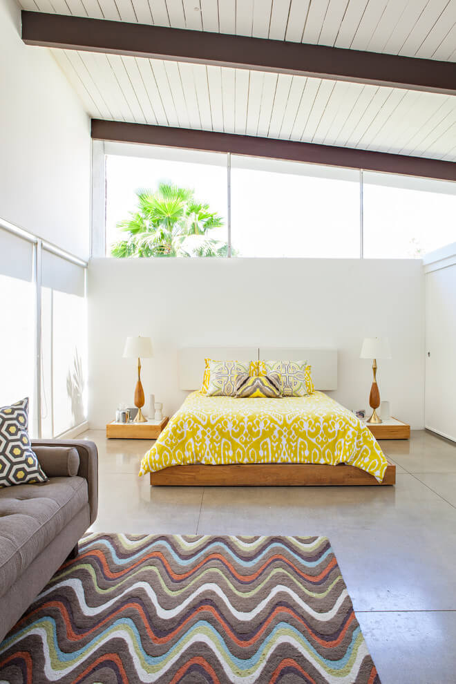 Yellow accents bright bedroom design