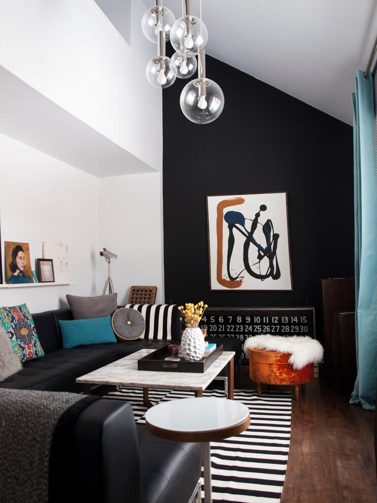 Black and white compact living room