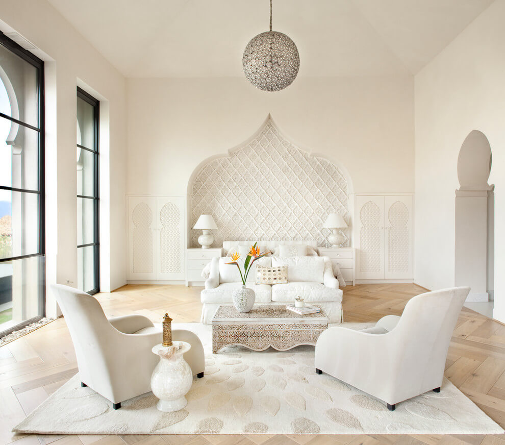 White Moroccan bedroom with black accents