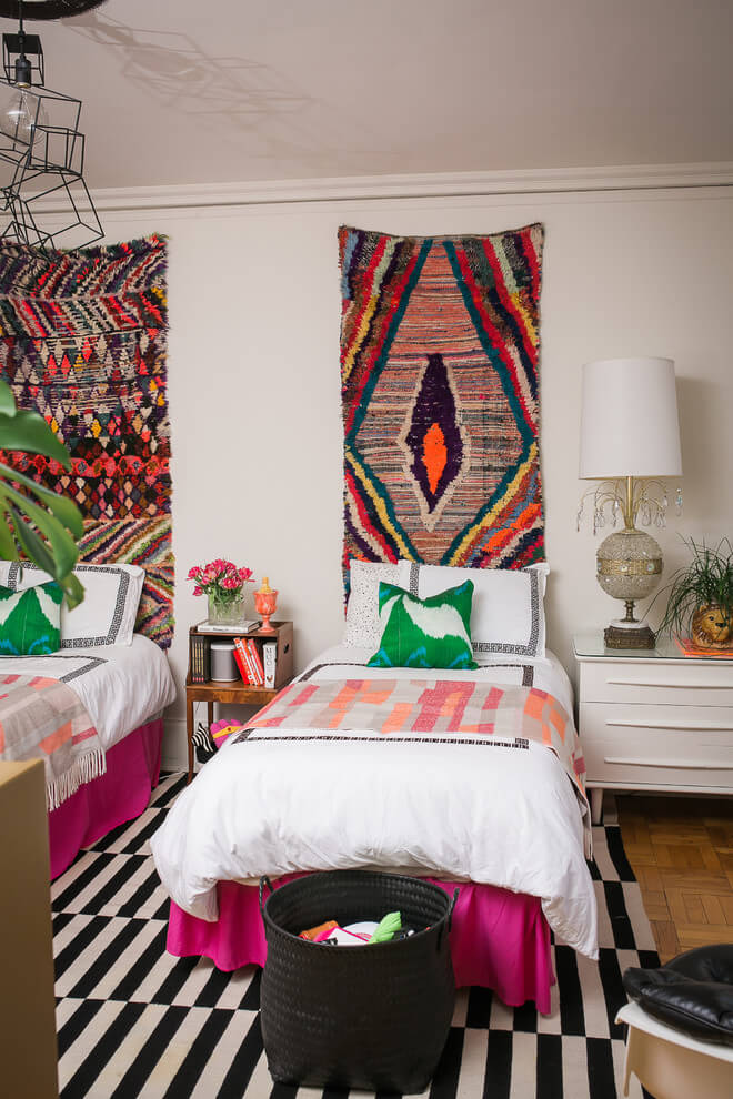 Eclectic bedroom with Moroccan touch