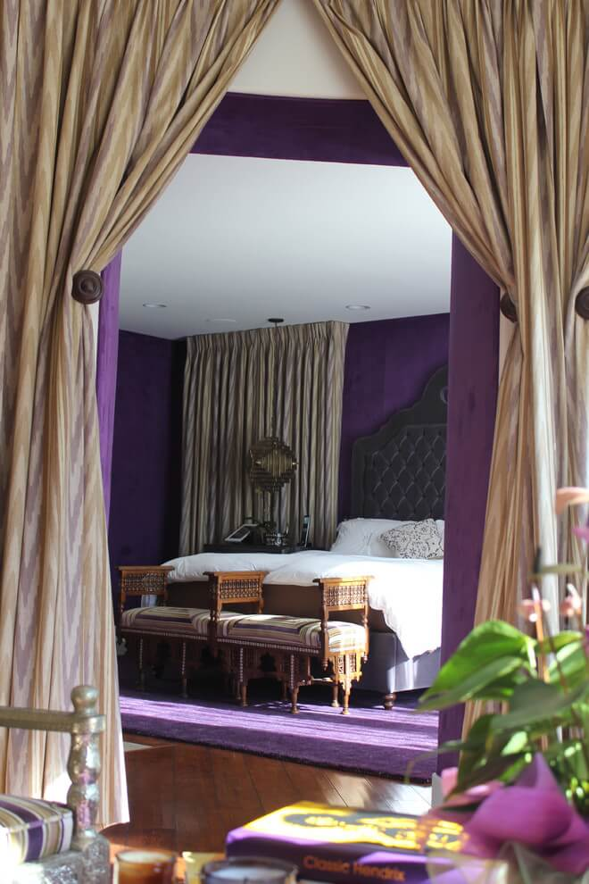 Purple accents simple bedroom decor