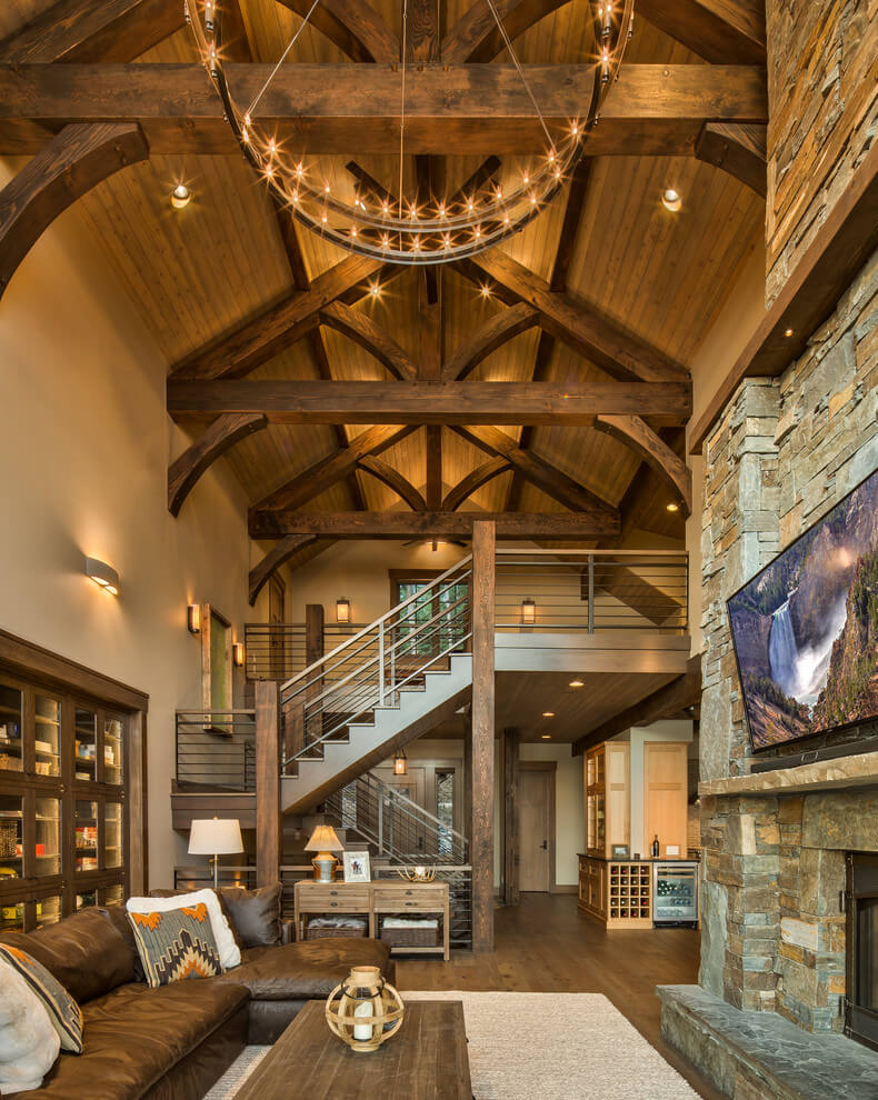 Vaulted wooden ceiling living room
