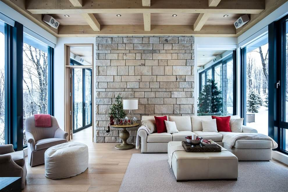 White living room Rustic design