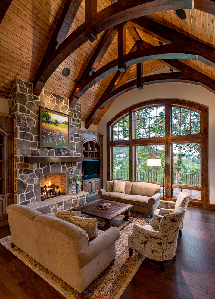 Rustic interior with high ceilings
