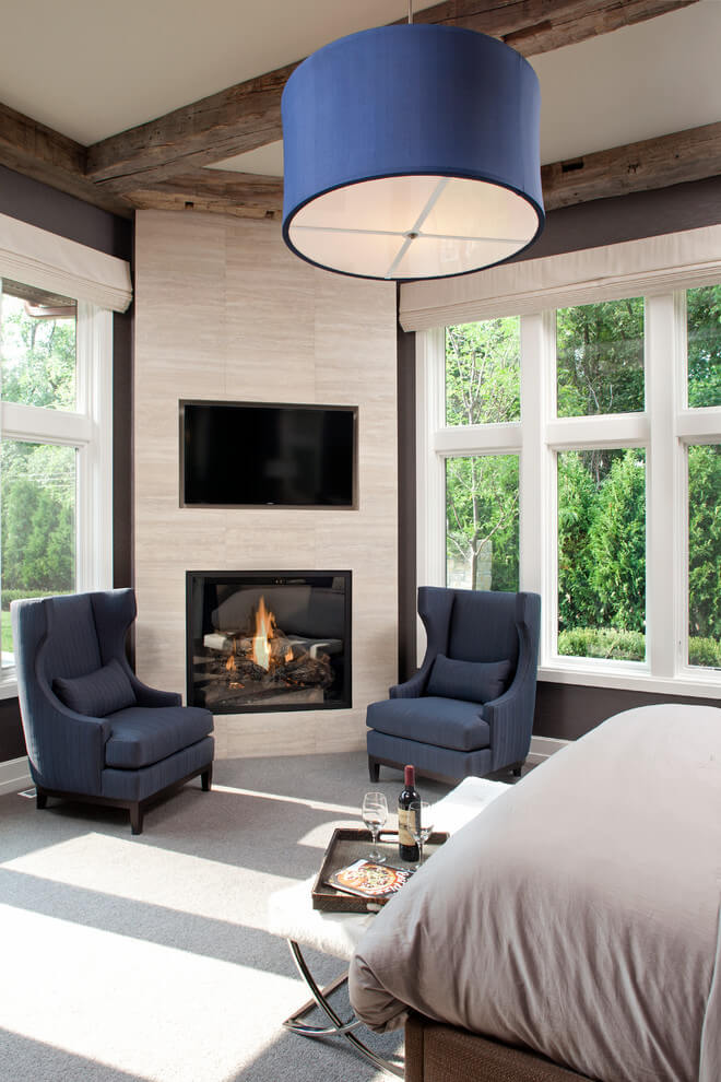 Transition room with corner fireplace