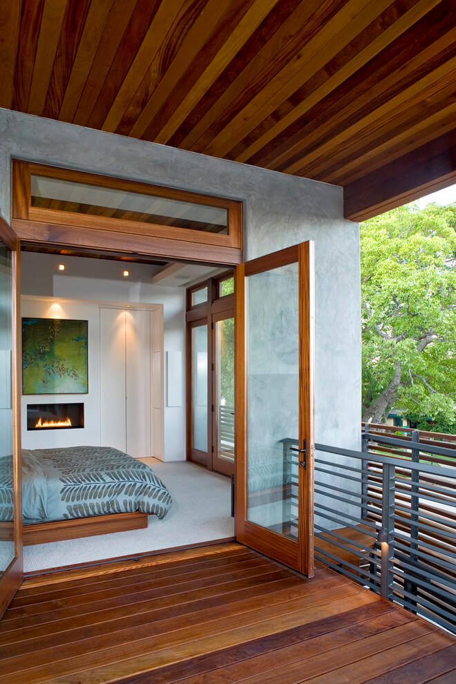 Modern bedroom with band stove