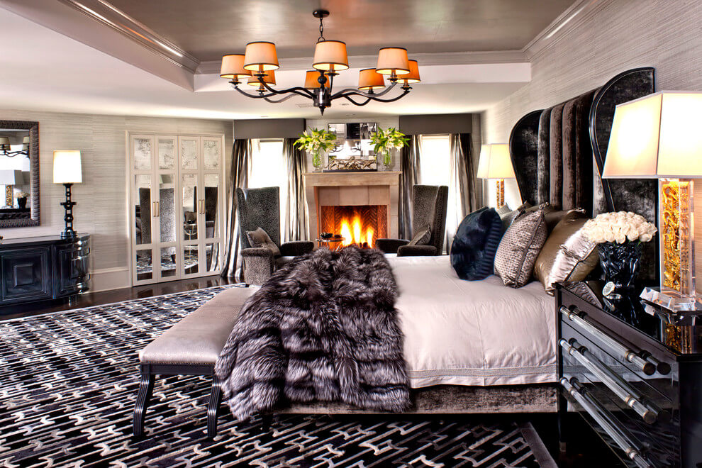 Glamorous modern bedroom with fireplace