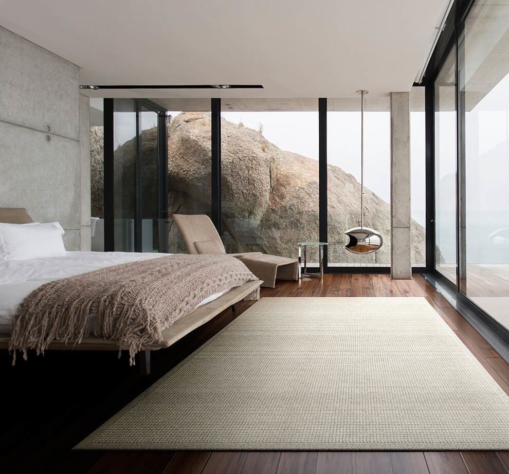 Hanging fireplace with modern bedroom