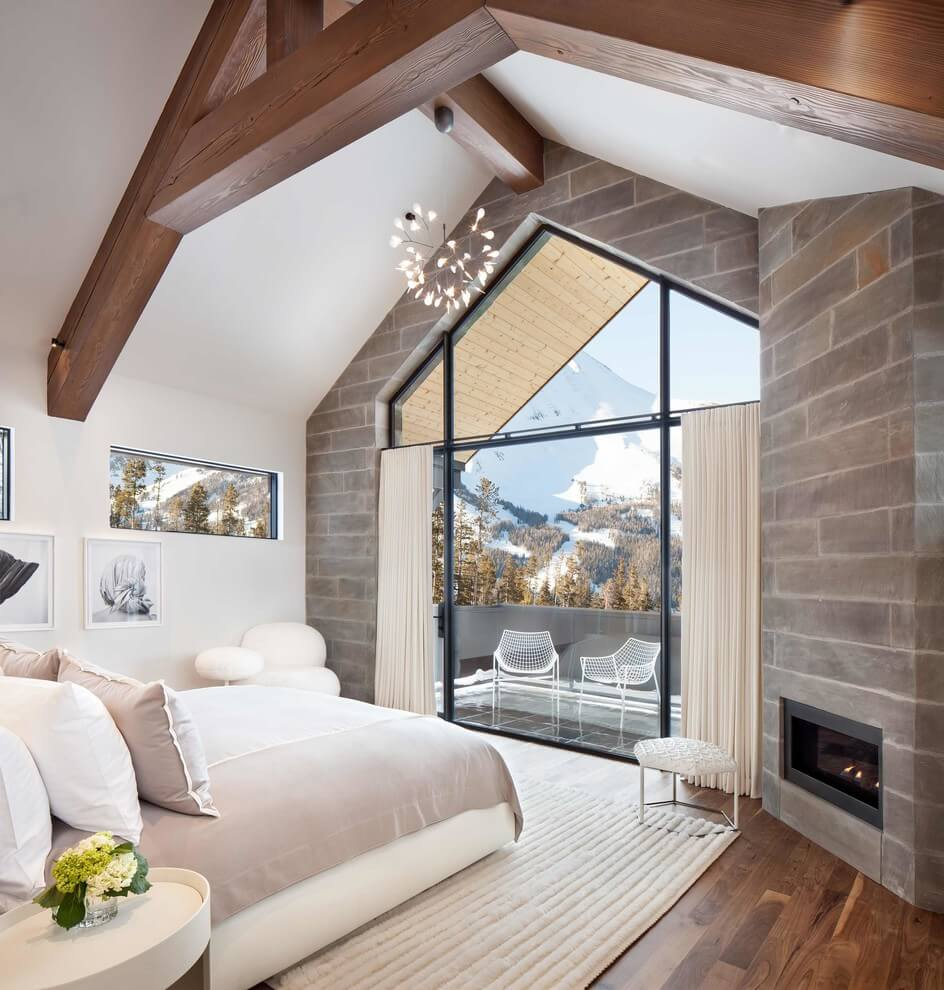 Modern bedroom built in band stove