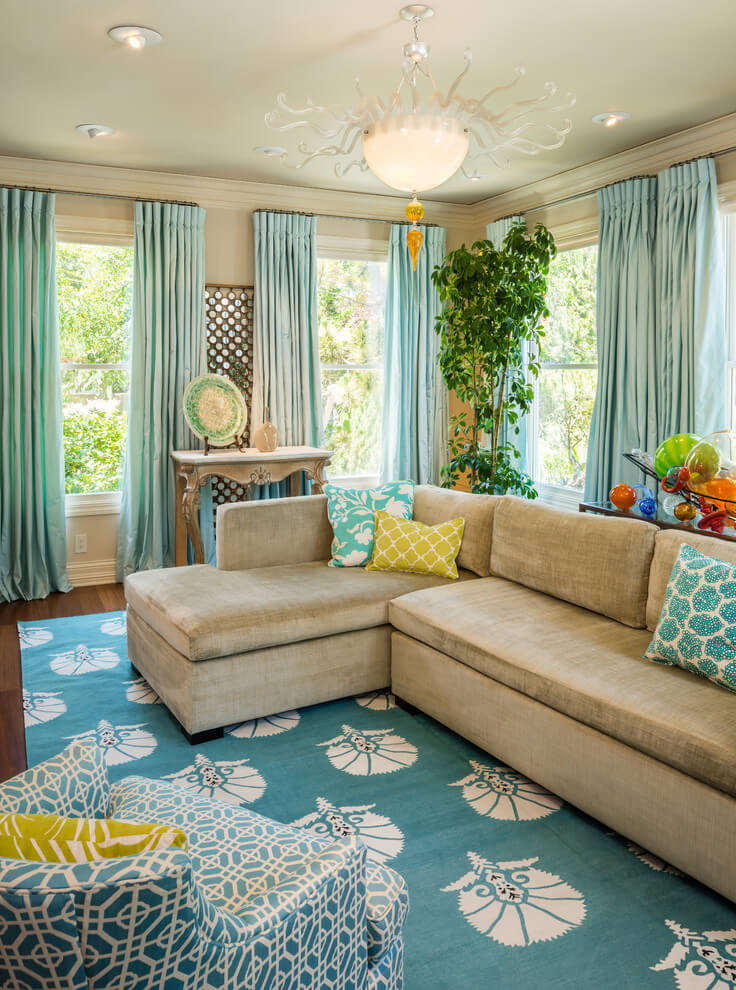 Colorful tropical living room design