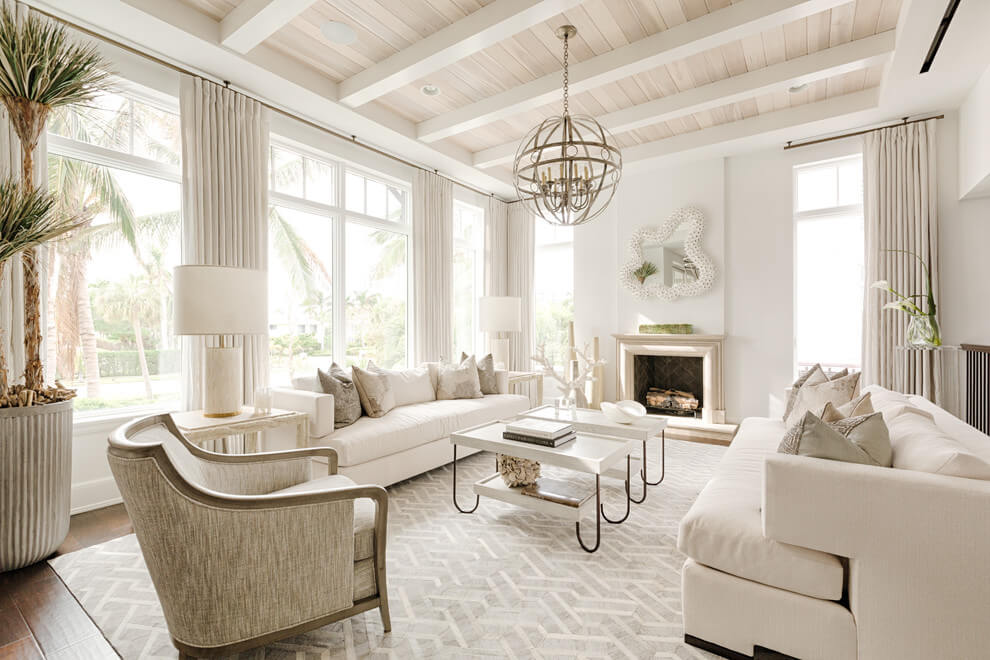 Simple white monochrome living room