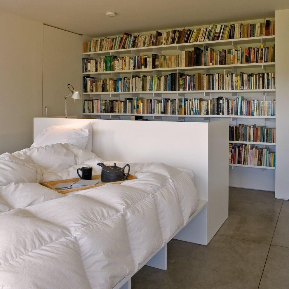 Bookcase Accent Wall Modern bedroom