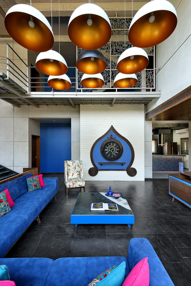 Colorful modern Asian living room