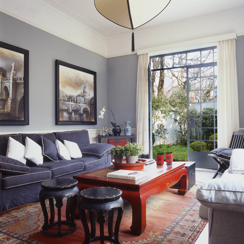 Purple accents asian living room design
