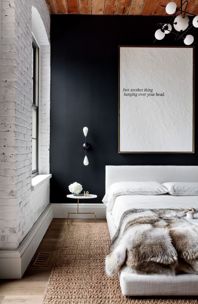 Black accent wall industrial design