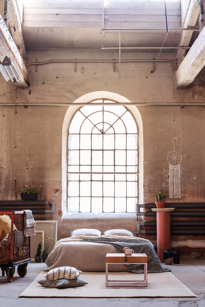 Soft colors industrial room decor