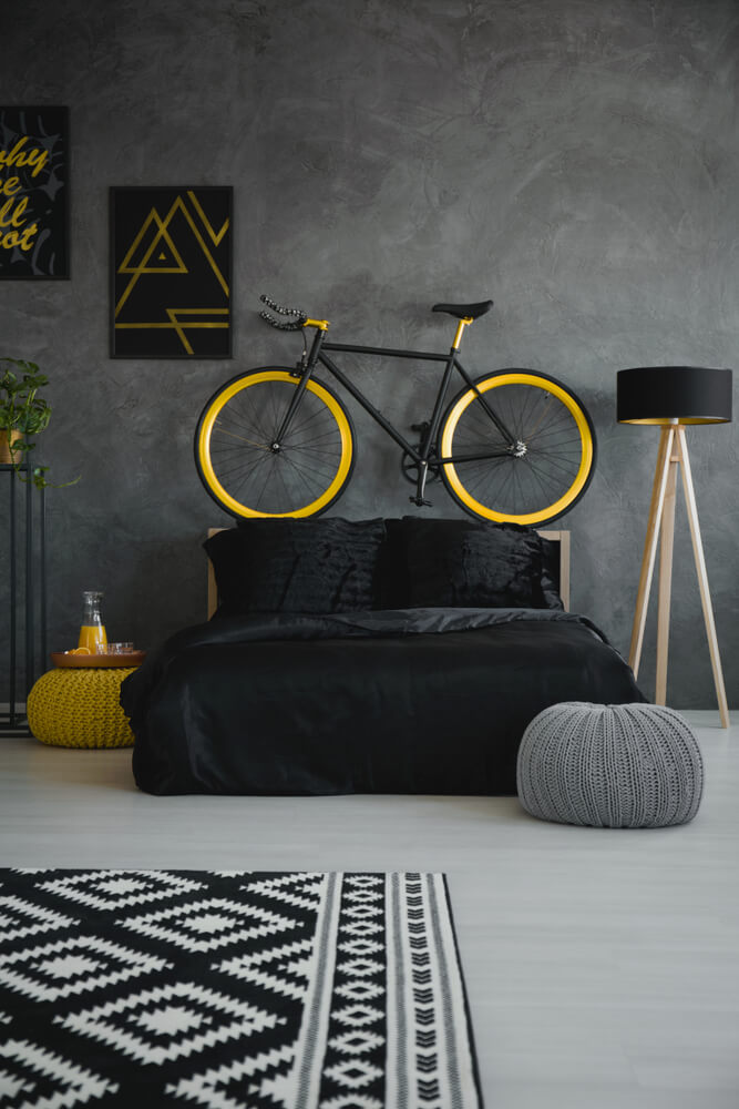 Gray bedroom with yellow details