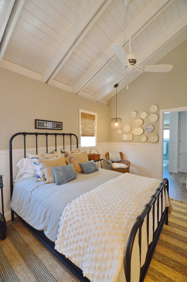 Small attic with coastal bedroom