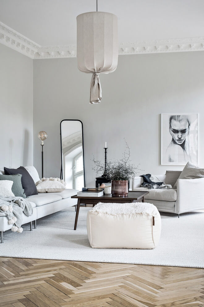 Warm white Nordic living room