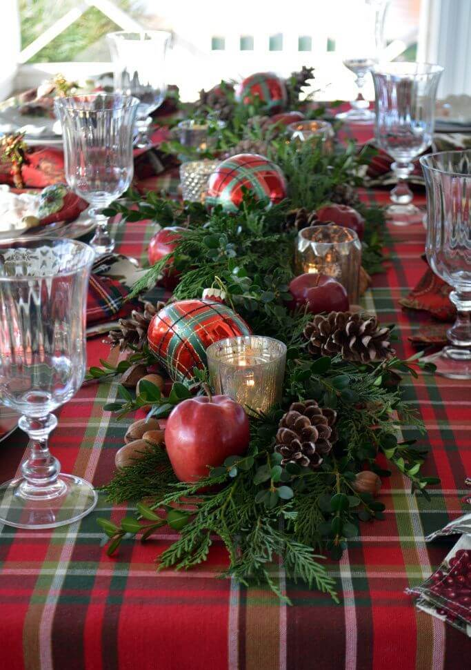 Red Plid And Evergreen Tablescape