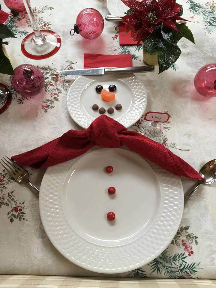 Setting of seat for snowman Christmas table