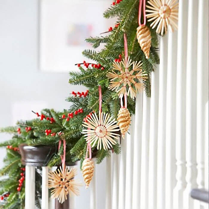 Nordic Christmas Stair Decor