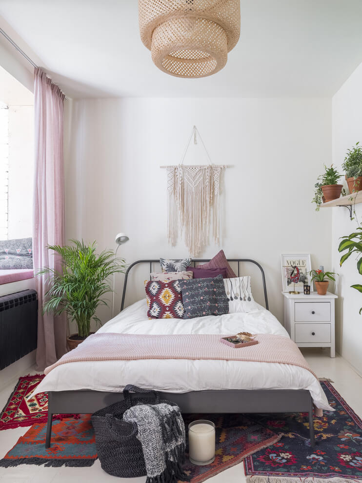 Eclectic hand to simple bedroom