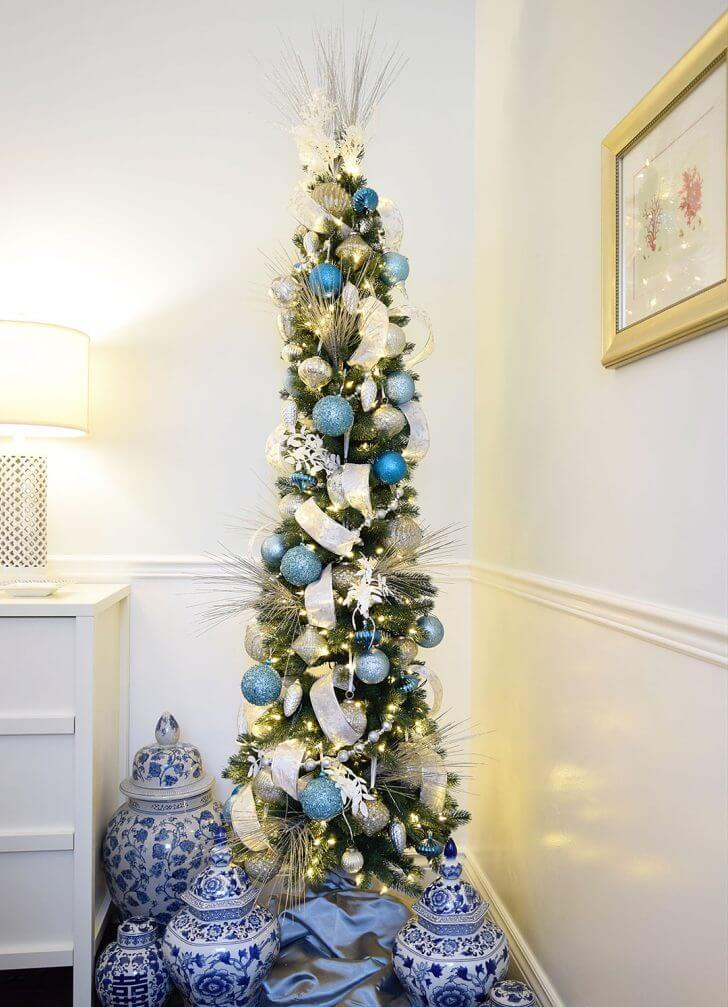 Pencil Christmas tree blue decoration