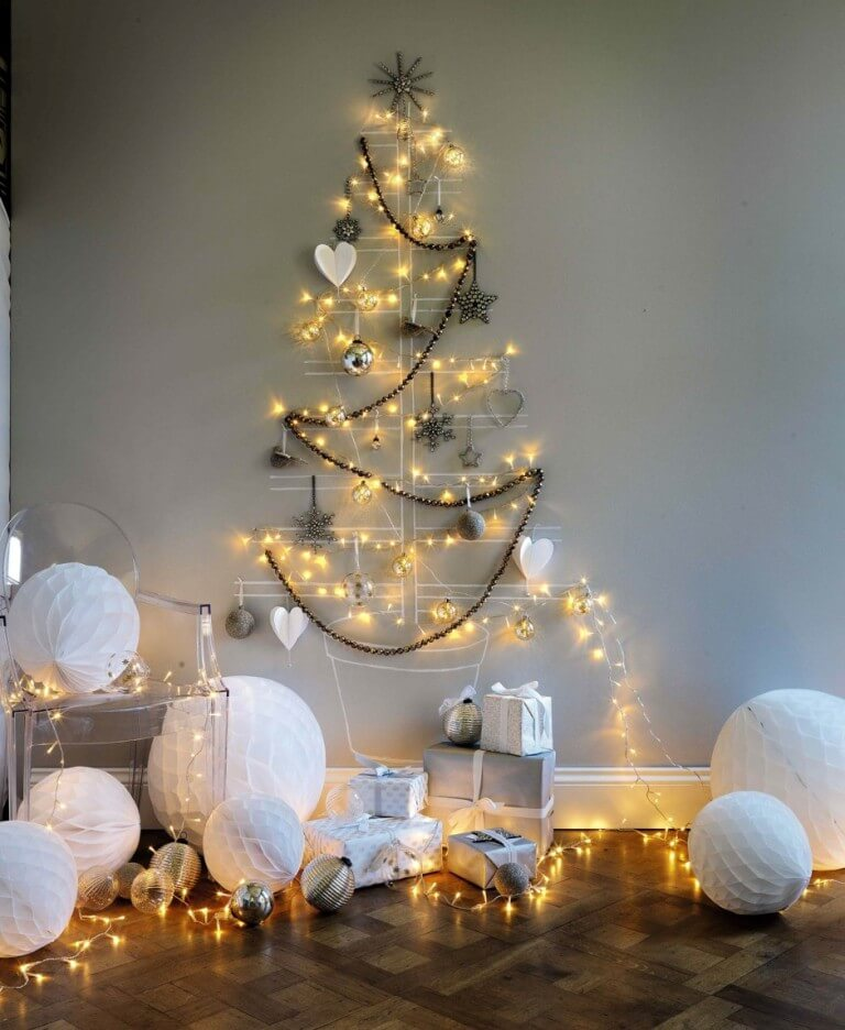Christmas lights wall tree decoration
