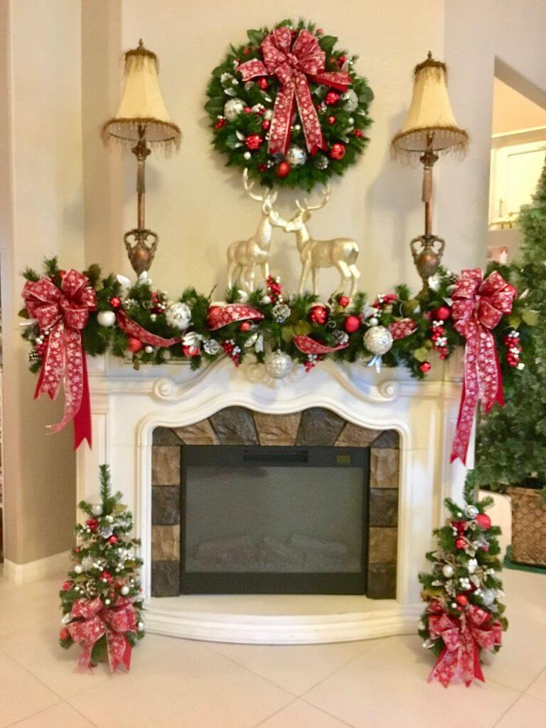 Small spacious Christmas mantle decor