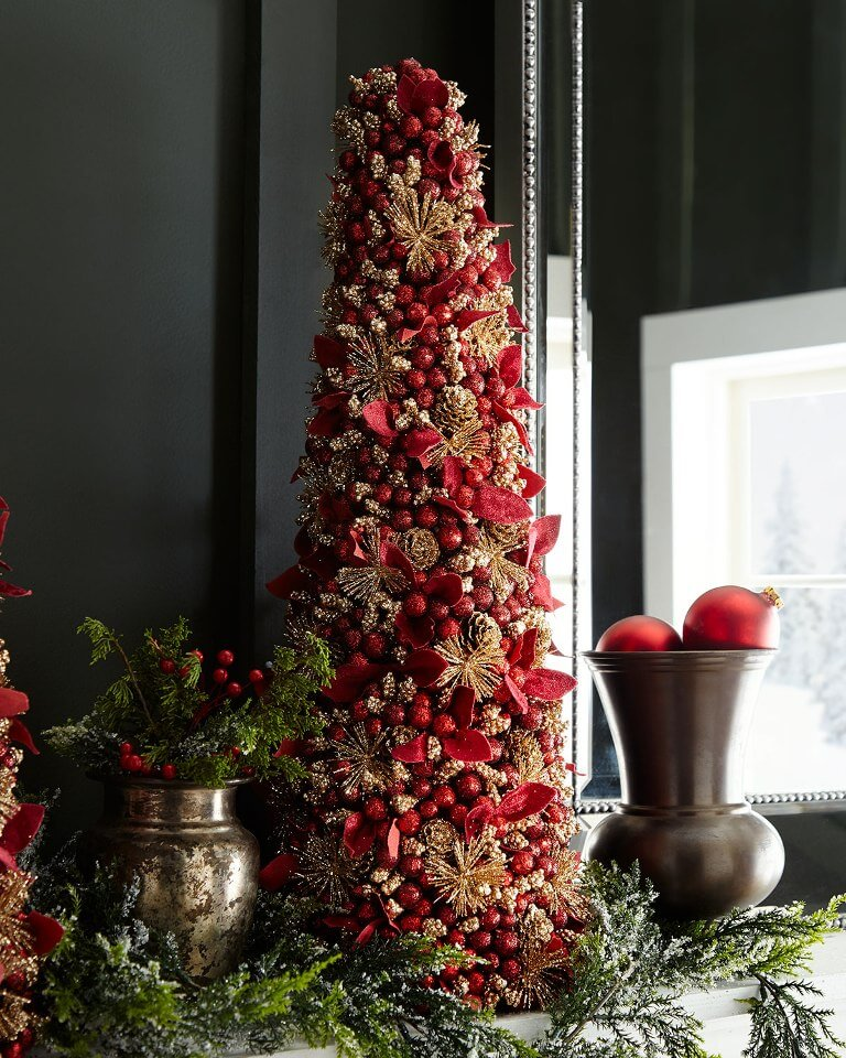 Festive red table tree