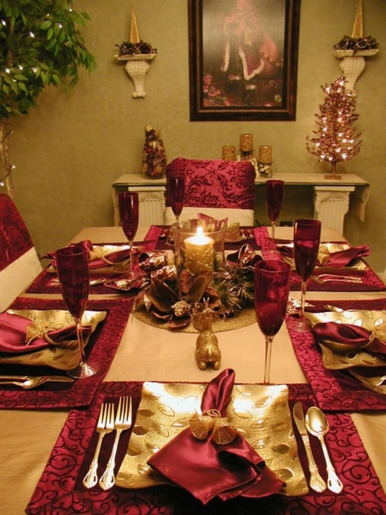 Festive red gold Christmas table
