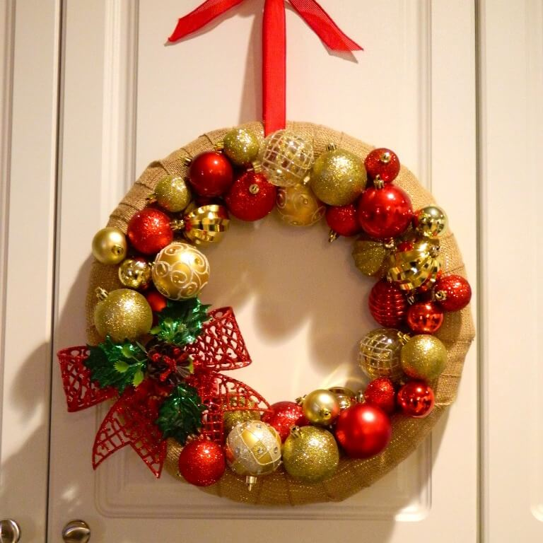 Front Door Red Red Gold Wreath