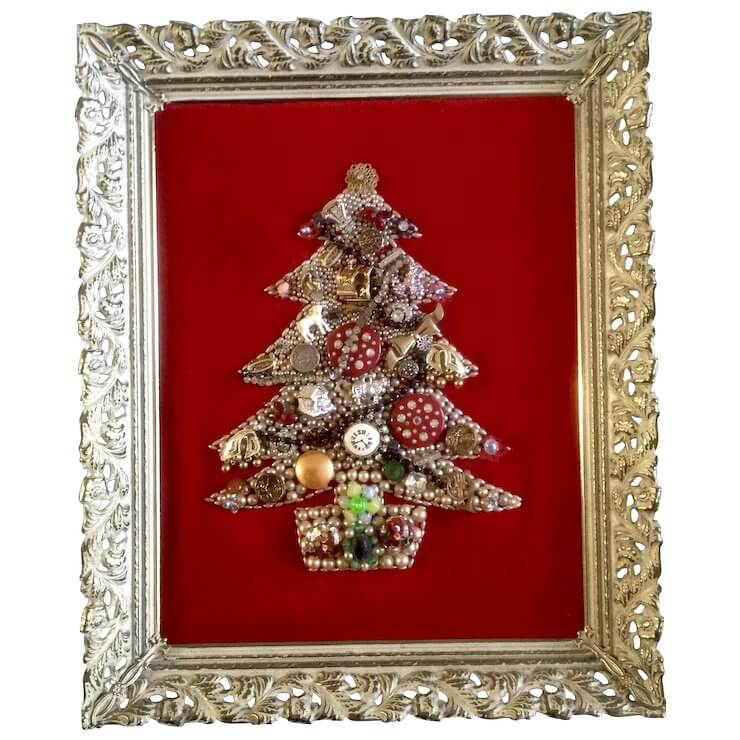 Christmas tree with framed jewelry in vintage