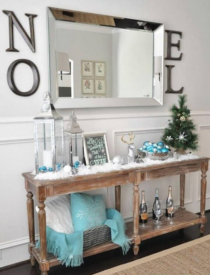 Turquoise and silver table decor