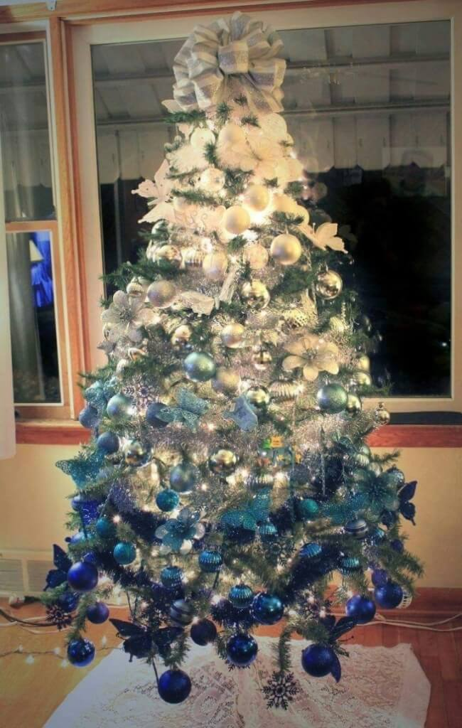 Ombre Tree Silver Blue Decoration