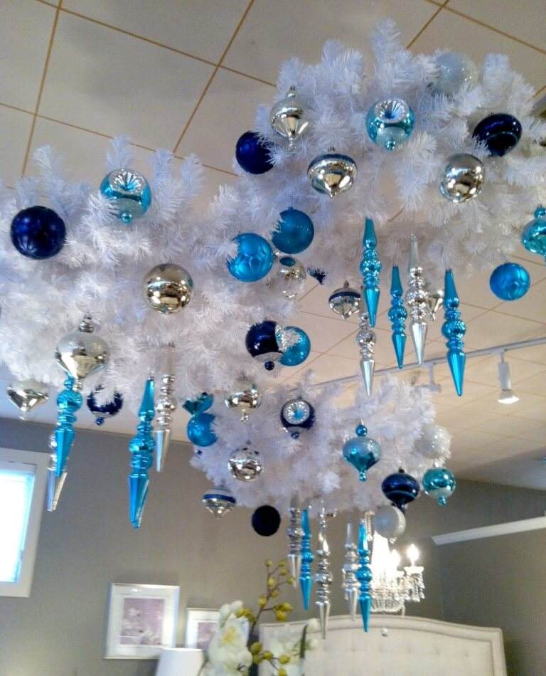 Light blue and silver chandelier