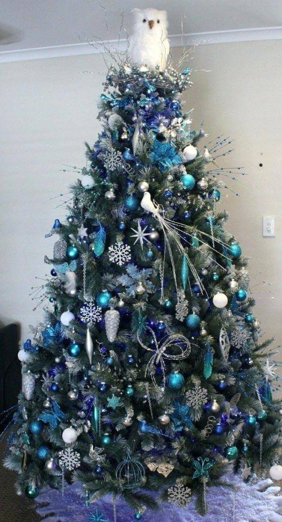 Whimsical Blue Siver Tree Decor