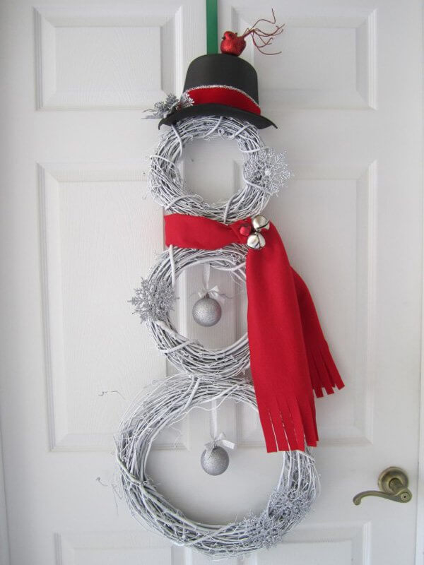 Wreath Snowman Front Door Decor