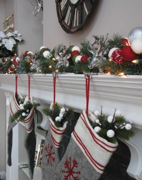 Fireplace Mantel red gray decor