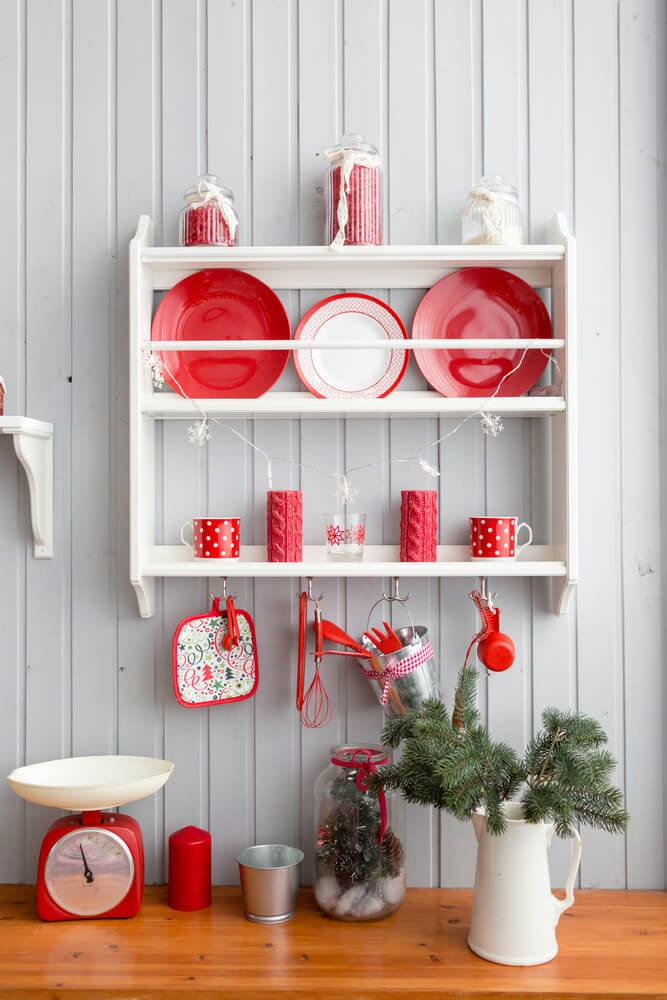 Gray kitchen red Christmas decor