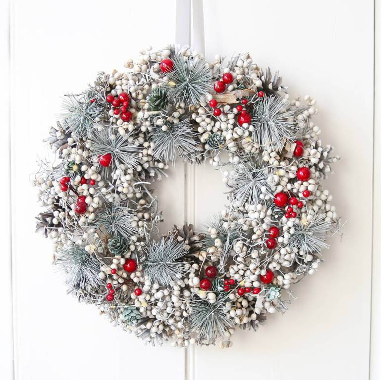 Red Berry And Gray Spruce Wreath