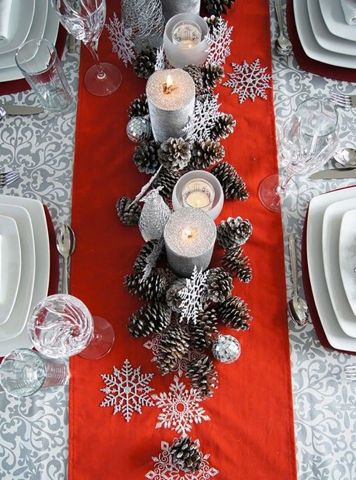 Glamorous red gray christmas table