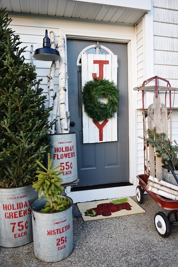 Christmas sign Rustic front porch