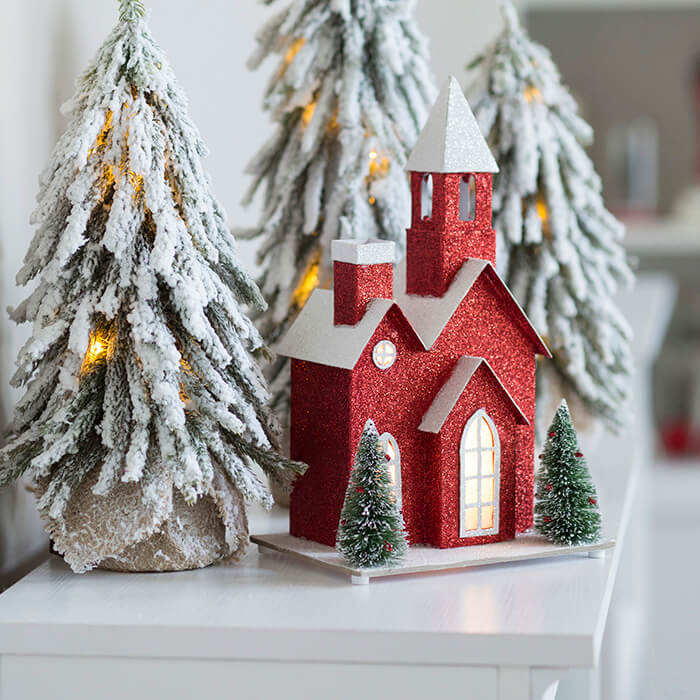 Festive red gray Christmas decoration