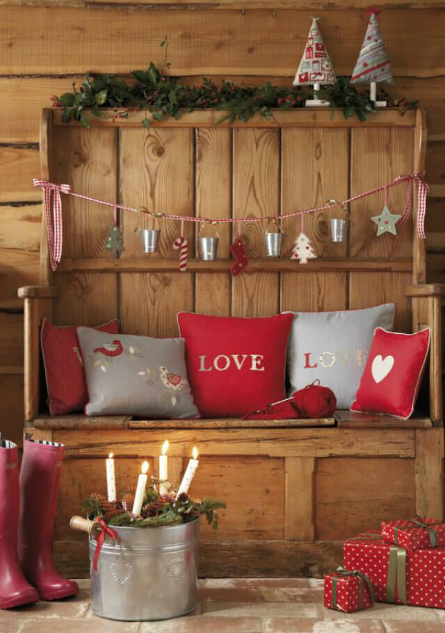 Christmas Entryway Red Gray Decor