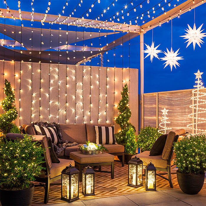 Terrace roof Christmas lighting decoration