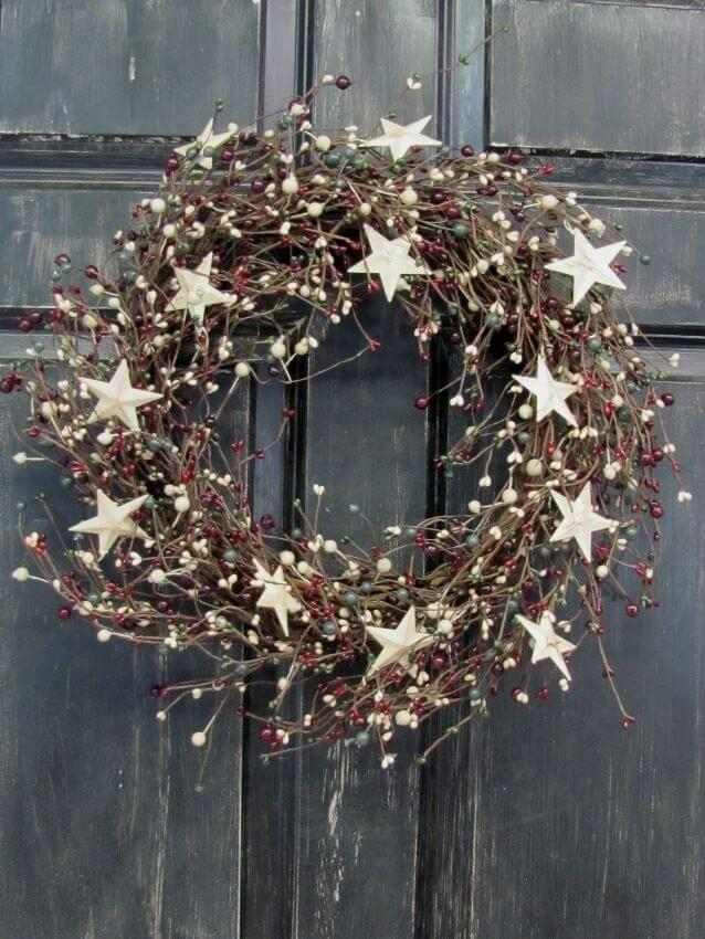 Winter wreath with stars decoration