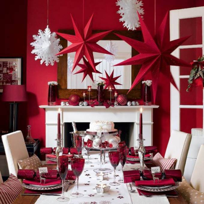 Festive red modern Christmas decoration