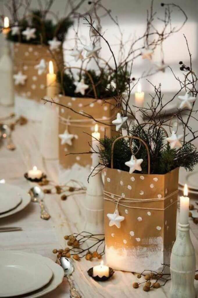 Rustic Christmas Centerpiece Stars Decor